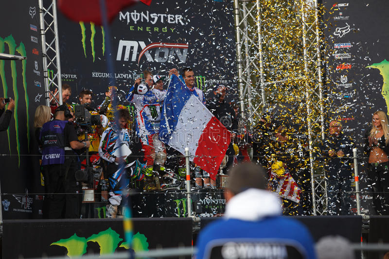 France as Champions Motocross of Nations 2014. Motocross of Nations 2014 Latvia Kegums 27 - 28.09.2014 stock photography