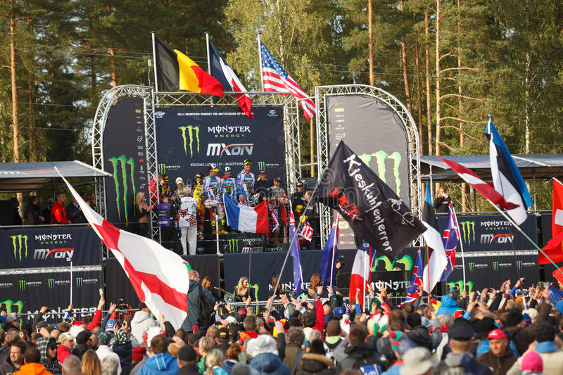 France as Champions Motocross of Nations 2014. Motocross of Nations 2014 Latvia Kegums 27 - 28.09.2014 royalty free stock images