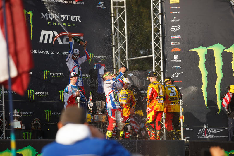 France as Champions Motocross of Nations 2014. Motocross of Nations 2014 Latvia Kegums 27 - 28.09.2014 royalty free stock photography