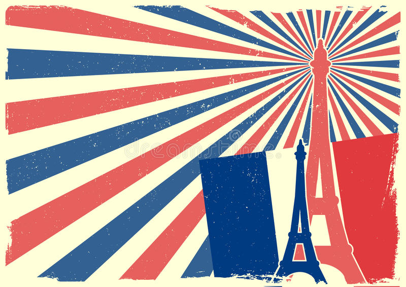 France background. Detailed illustration of the Eiffel Tower in front of a grungy patriotic backbround vector illustration