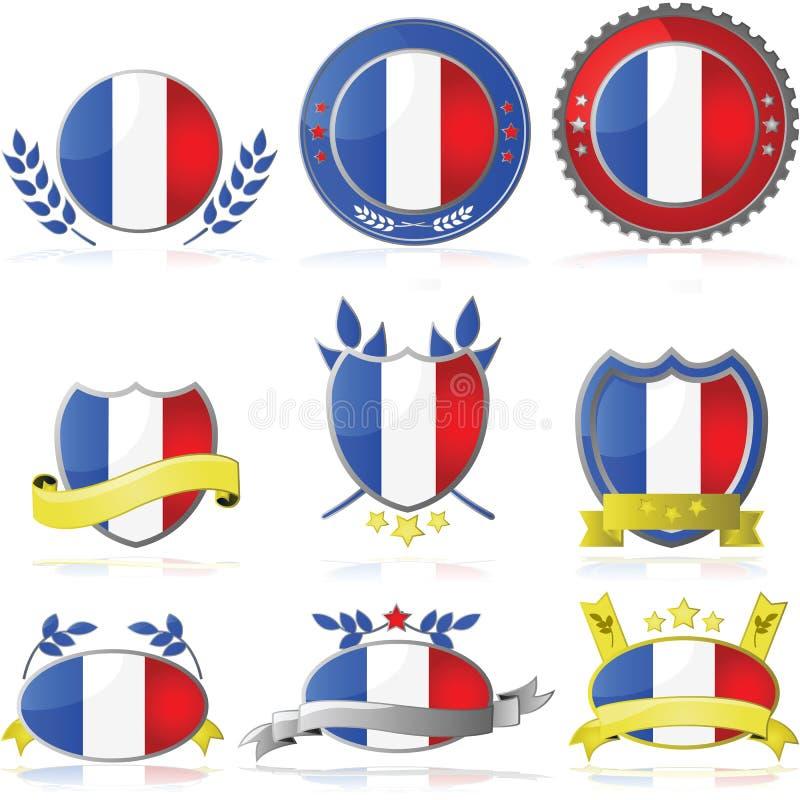 France Badges Stock Photo