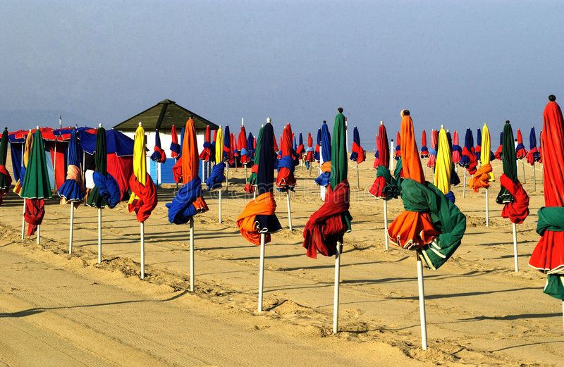 France, beach of Deauville. Horizontal picture royalty free stock image