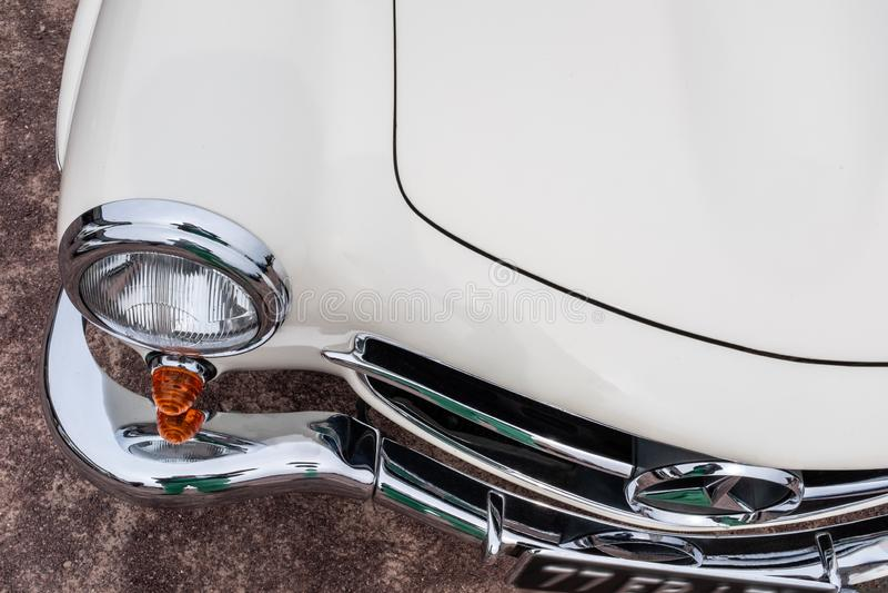 France-BernayNormandiy - MAY 01, 2019: Avant Mercedes Benz SL230 Pagode,1965 year. Retro Car on Vintage Car Parade wih royalty free stock images