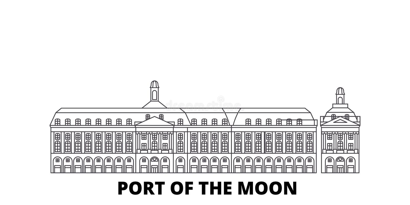 France, Bordeaux, Port Of The Moon Landmark line travel skyline set. France, Bordeaux, Port Of The Moon Landmark outline vector illustration