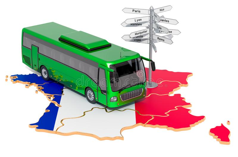 France Bus Tours concept. 3D rendering. Isolated on white background royalty free illustration