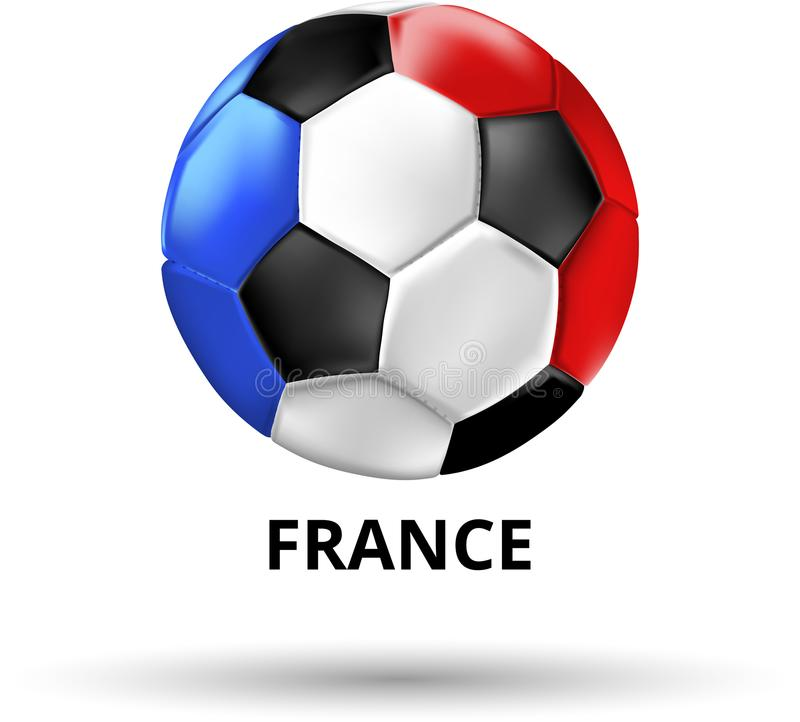France card with soccer ball in colors of national flag. royalty free illustration
