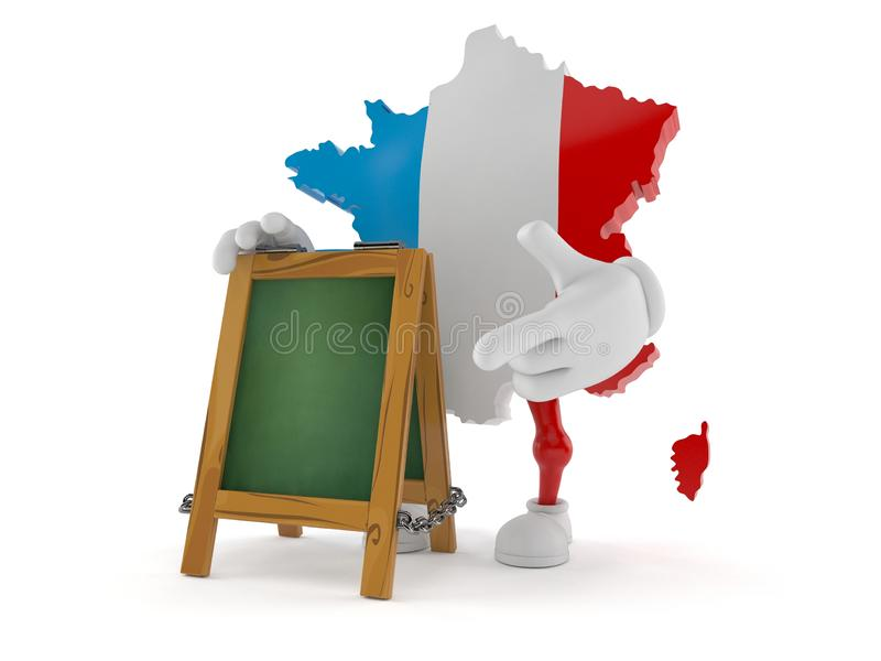 France character with chalk signboard. Isolated on white background. 3d illustration royalty free illustration