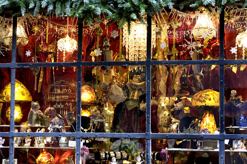 Christmas display window. France, christmas display window in Rouen stock photo