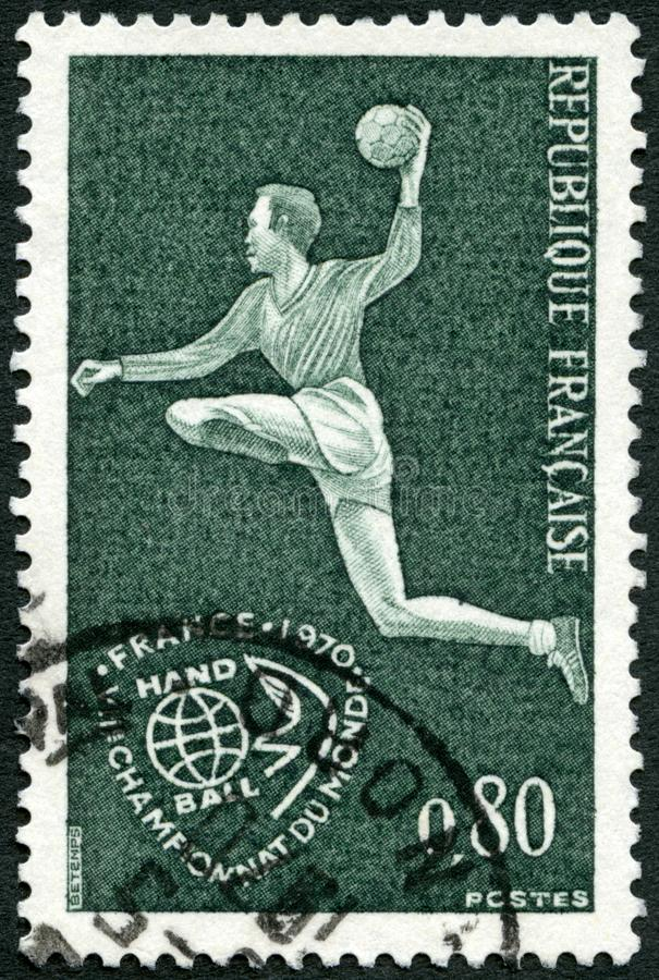 FRANCE - 1970: shows Field Hand Ball Player, Field Ball Games. FRANCE - CIRCA 1970: A stamp printed in France shows Field Hand Ball Player, Field Ball Games stock images