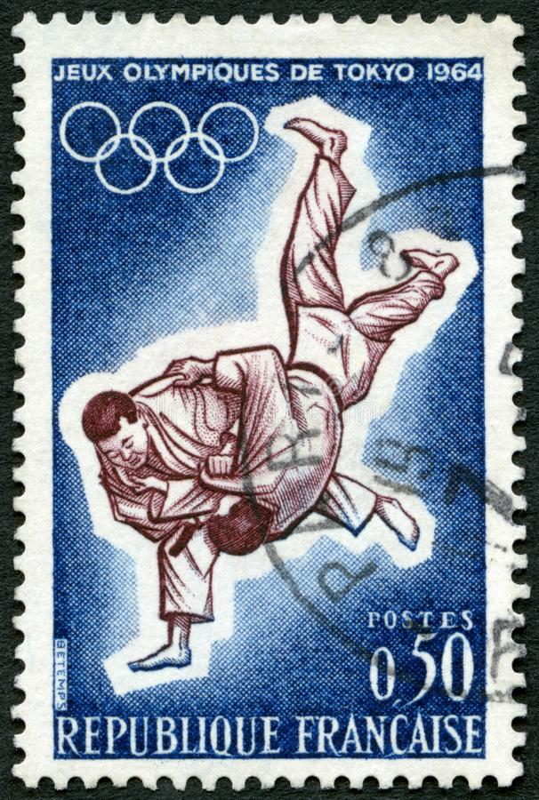 FRANCE - 1964: shows Judo, 18th Olympic Games, Tokyo. FRANCE - CIRCA 1964: A stamp printed in France shows Judo, 18th Olympic Games, Tokyo, circa 1964 royalty free stock photography