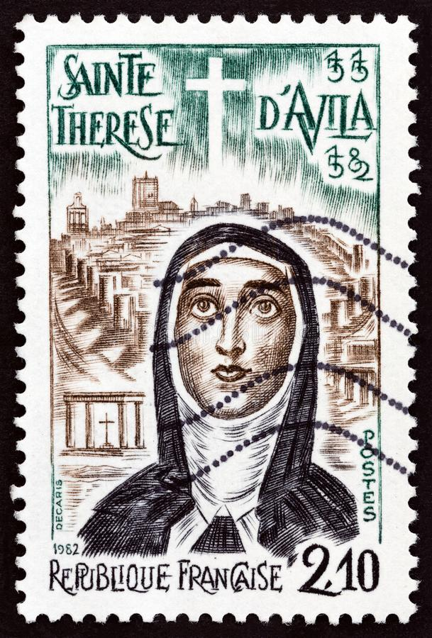 FRANCE - CIRCA 1982: A stamp printed in France St. Teresa of Avila, circa 1982. FRANCE - CIRCA 1982: A stamp printed in France issued for the 400th death royalty free stock photography