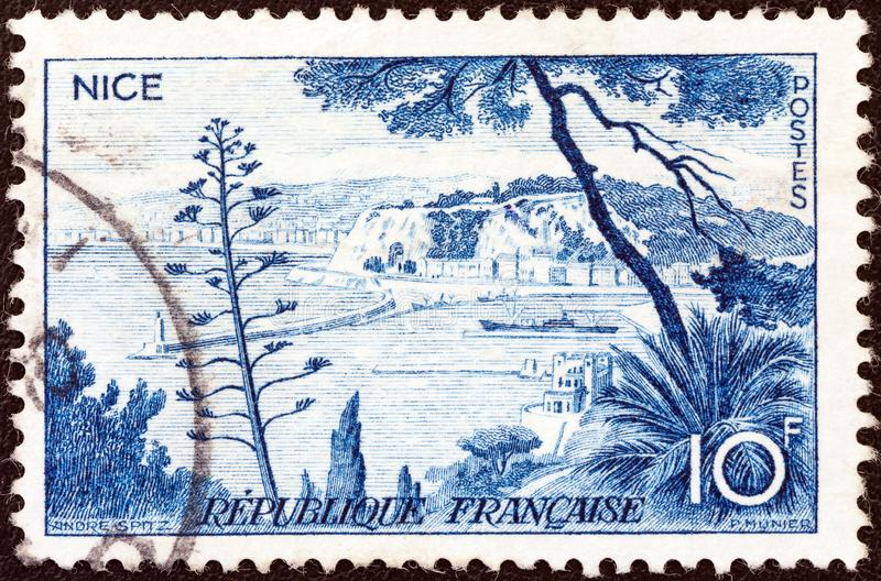 FRANCE - CIRCA 1955: A stamp printed in France shows Nice, circa 1955. FRANCE - CIRCA 1955: A stamp printed in France from the `Views` issue shows Nice, circa stock photos