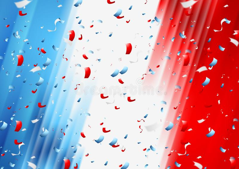 France confetti background. French National Bastille Day. 14th of July. Vector design stock illustration