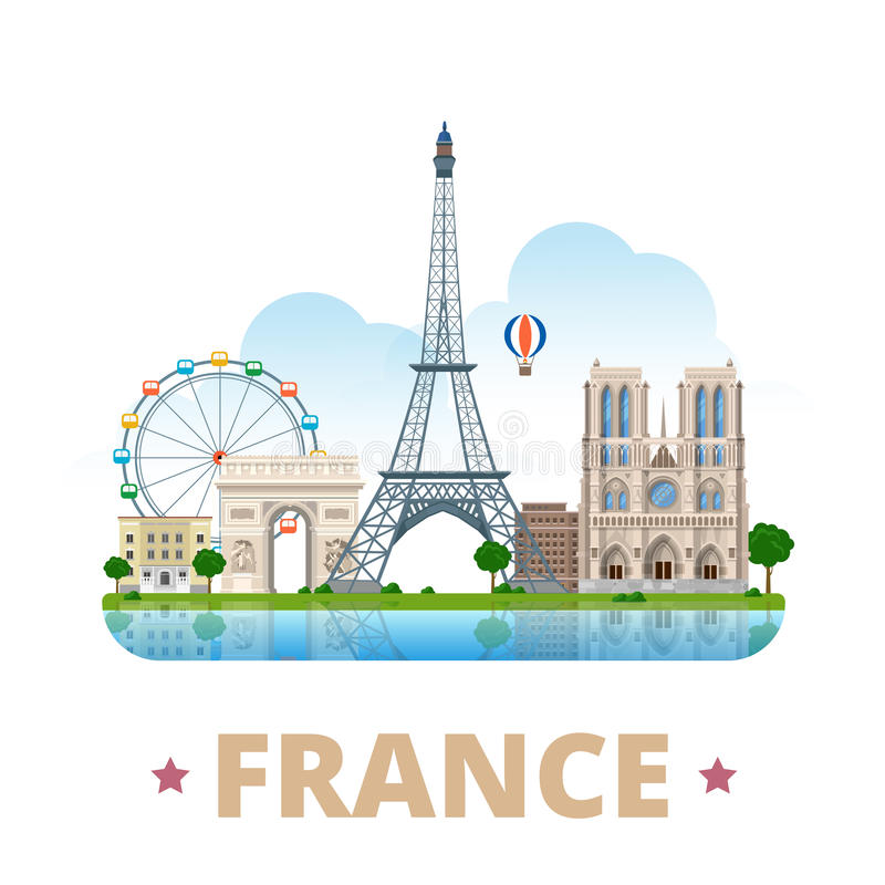 France country design template Flat cartoon style royalty free illustration