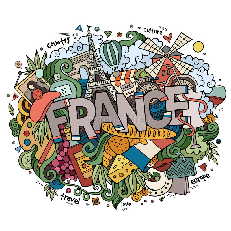 France country hand lettering and doodles elements. And symbols background. Vector hand drawn illustration