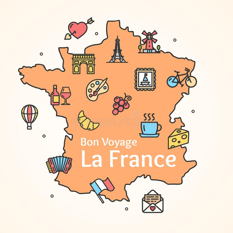 Download France Design Template Line Icon Welcome Concept And Map Vector Stock