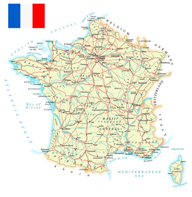 France - detailed map - illustration. Map contains topographic contours, country and land names, cities, water objects, roads, railways vector illustration