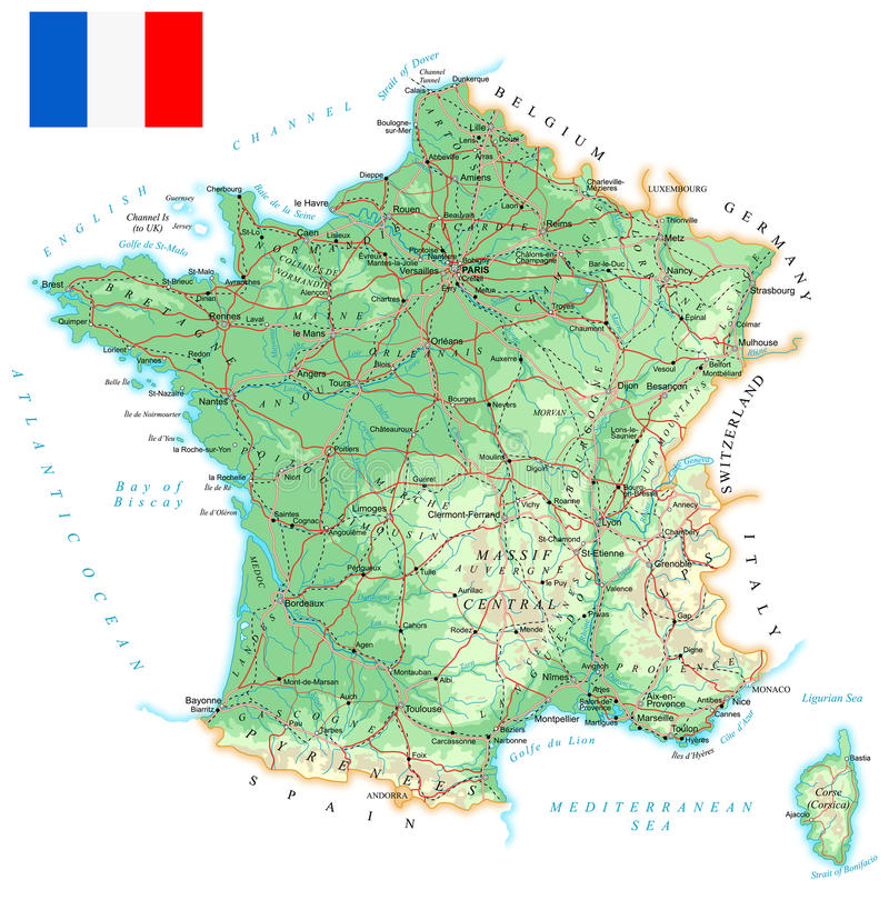 France Detailed Topographic Map Illustration Stock Photo