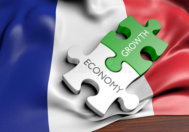 France economy and financial market growth concept. 3D rendered concept of France`s economy and financial market growth royalty free illustration