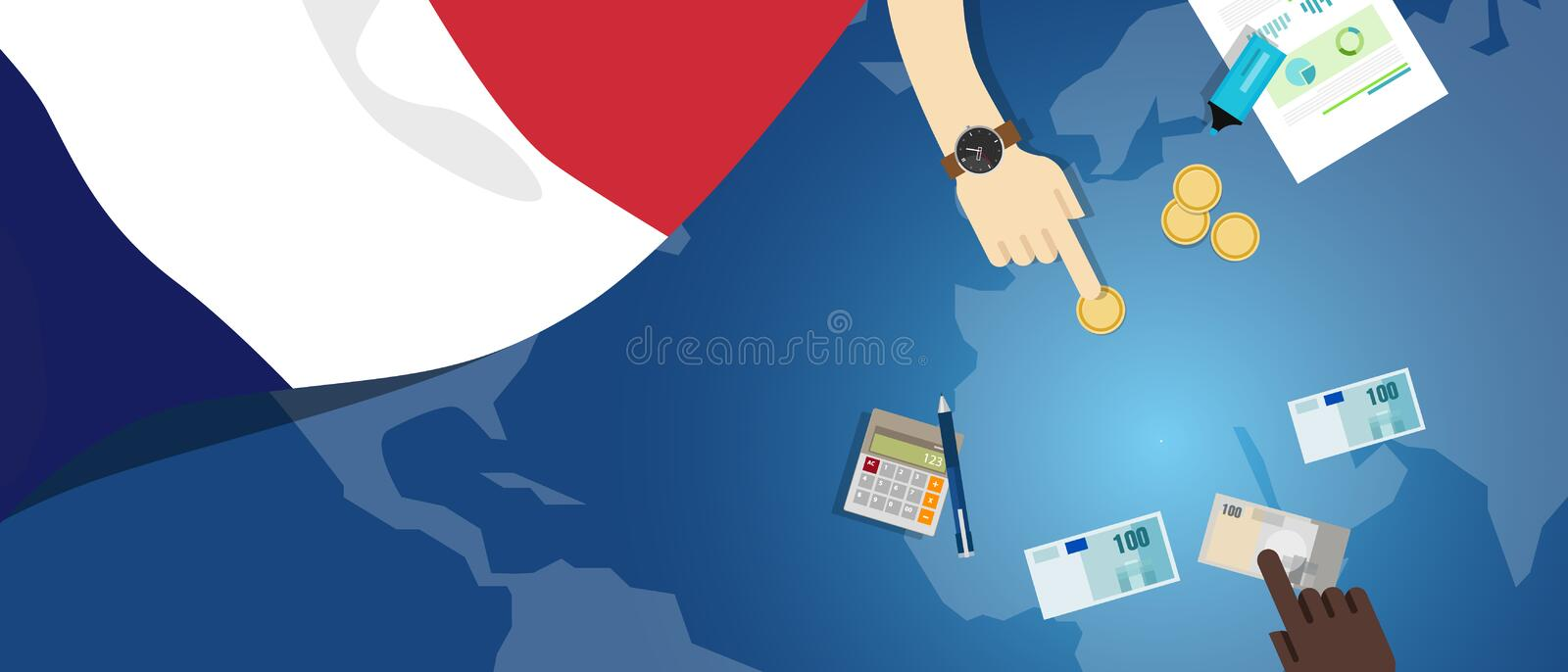 France economy fiscal money trade concept illustration of financial banking budget with flag map and currency. Vector royalty free illustration
