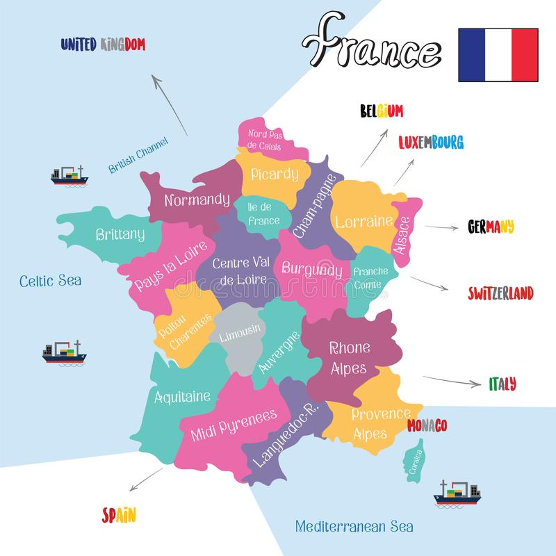 France Europe regions map.vector.EPS10.illustration. France Europe regions map vector EPS10 illustrationn Alsace Champagne-Ardenne.Lorraine.Aquitaine.Limousin royalty free illustration