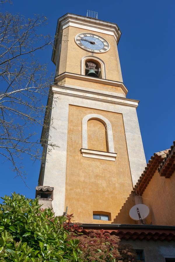 Church of Our Lady Tower in Eze stock photo
