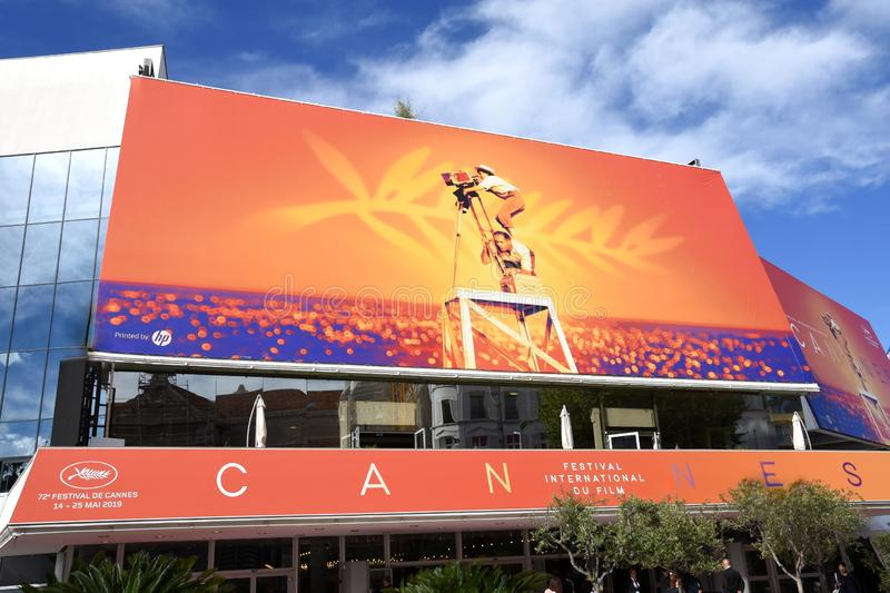 France, the festival palace of Cannes in colors of the 72th International Festival of FIlm. stock images