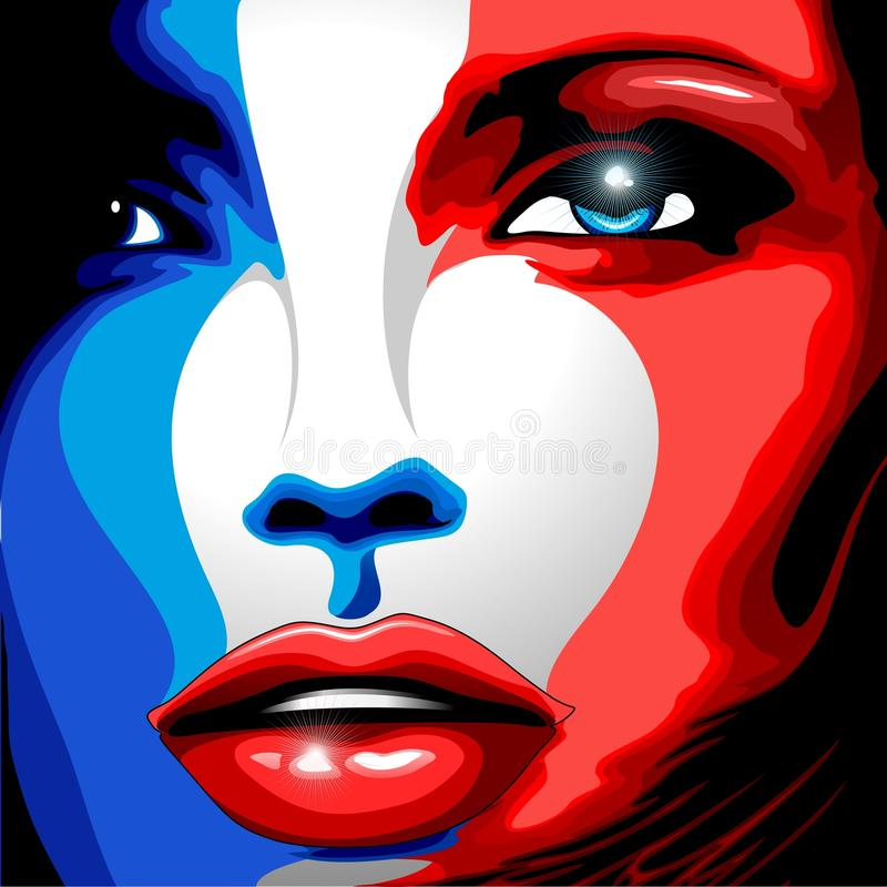 Download France Flag Beautiful Girl Portrait Stock Illustration - Illustration of paintedface, frenchgirl: 120668054