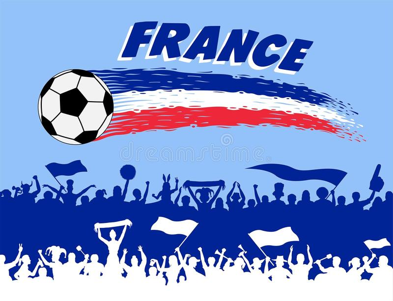 France flag colors with soccer ball and French supporters silhouettes royalty free illustration