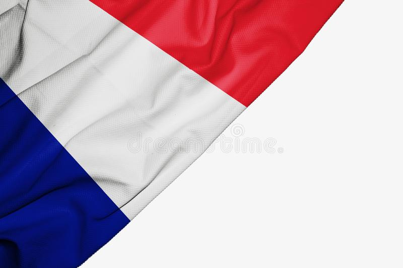France flag of fabric with copyspace for your text on white background. Banner best blue capital colorful competition country ensign europe european free royalty free illustration