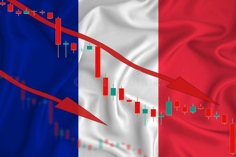 France flag, the fall of the currency against the background of the flag and stock price fluctuations. Crisis concept with falling. Stock prices of companies stock image