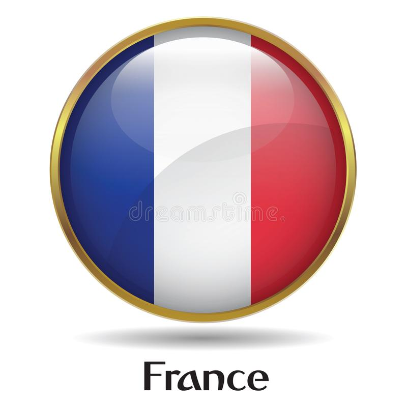 France Flag with gold frame & bevel royalty free stock photo
