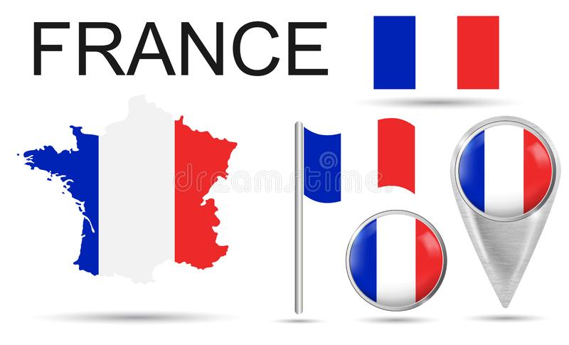FRANCE. Flag, map pointer, button, waving flag, symbol, flat icon and map of France in the colors of the national flag. Vector royalty free illustration