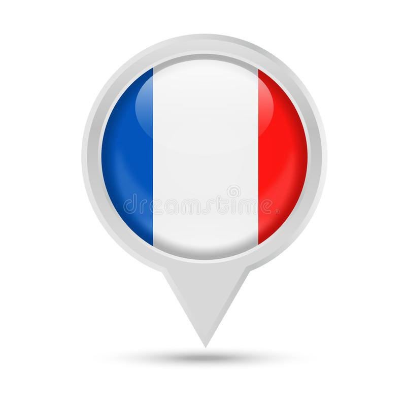 France Flag Round Pin Vector Icon stock illustration