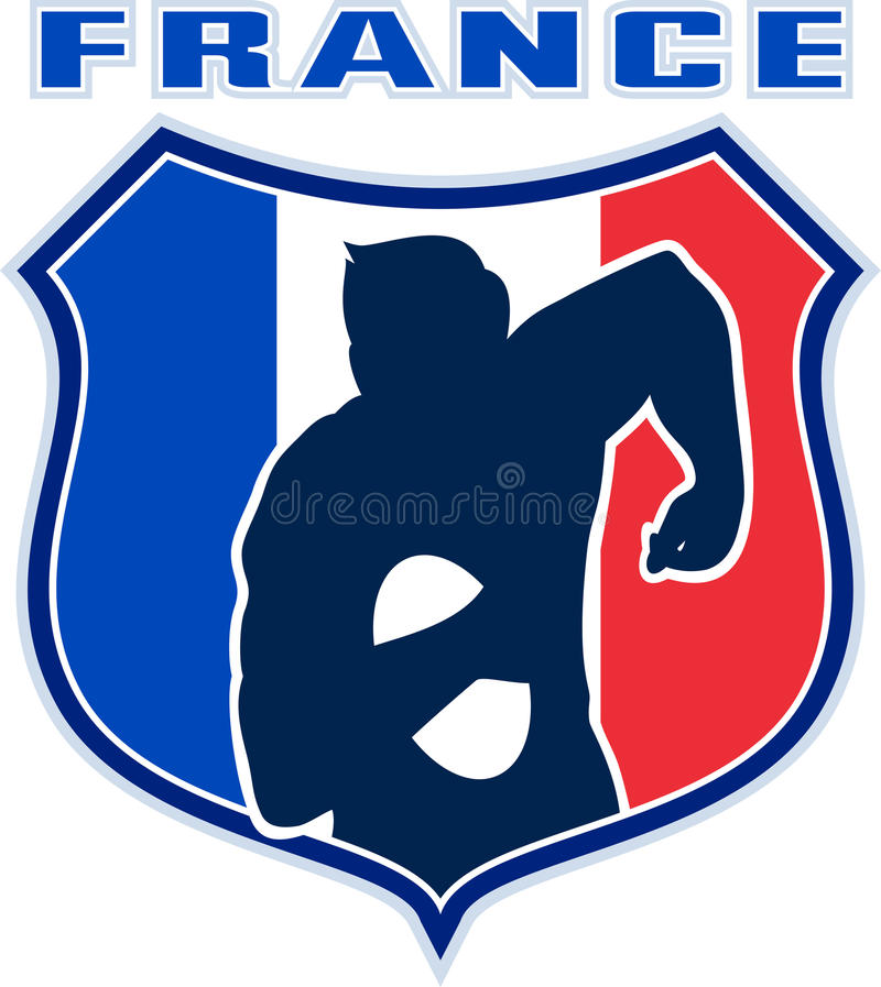 France Flag Rugby Player Shield Royalty Free Stock Photos