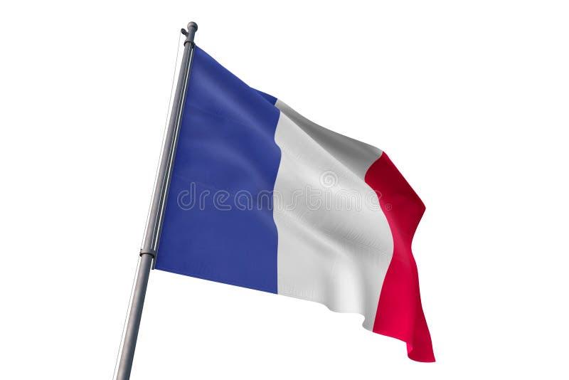 France flag waving isolated white background 3D illustration royalty free illustration