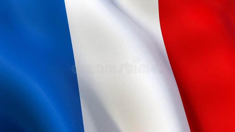 France Flag waving in the wind. Closeup of the France Tricolour Flag waving in the wind. Drapeau Français Tricolore, three vertical bands coloured blue, white stock illustration
