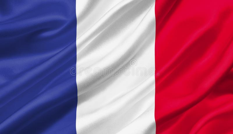 France flag waving with the wind, 3D illustration. vector illustration