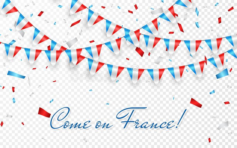 France flags garland white background with confetti, Hang bunting for France national Day celebration template banner, Vector illu royalty free illustration