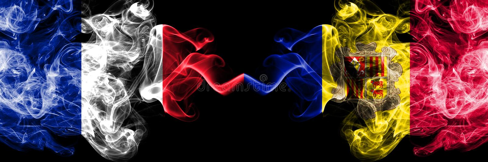 France, French, Andorra, Andorran competition thick colorful smoky flags. European football qualifications games. France French, Andorra, Andorran competition royalty free illustration