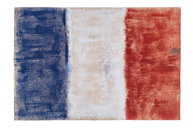 France French flag on wood background. Grunge wall royalty free stock photo