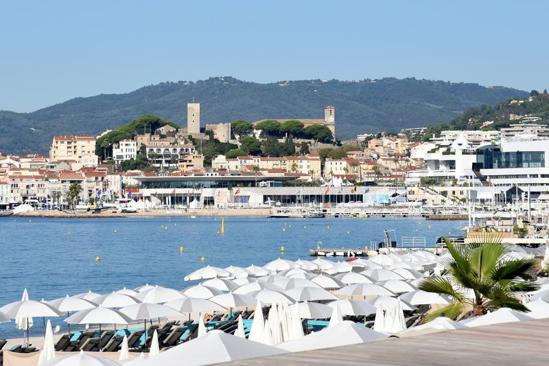 France, french riviera,Cannes, Suquet hill and beaches. The Suquet district is the oldest in Cannes. The medieval castle shelters the Castre museum, the square stock images