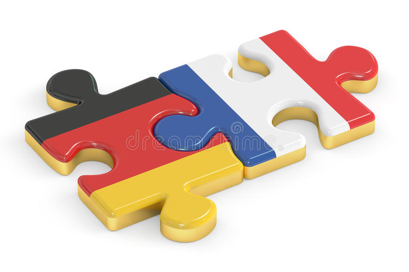 France and Germany puzzles from flags, relation concept. France and Germany puzzles from flags, relation concept vector illustration
