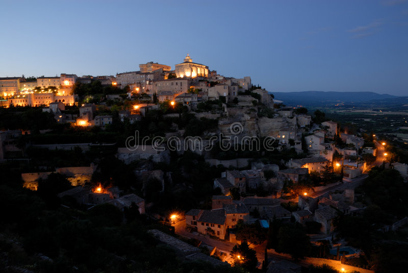 france gordes night over view στοκ εικόνες
