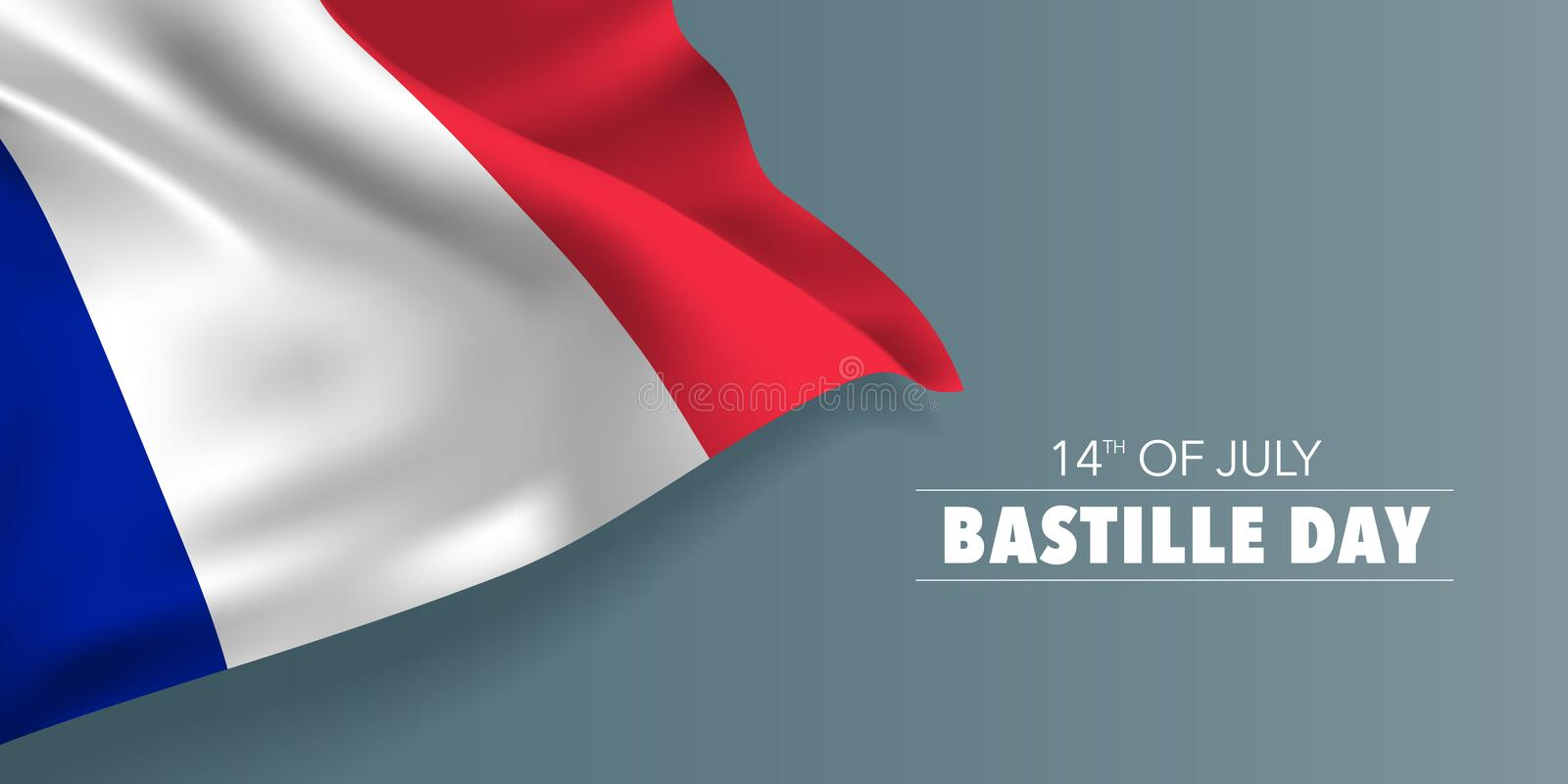 France happy Bastille day greeting card, banner with template text vector illustration. French memorial holiday 14th of July design element with flag with vector illustration