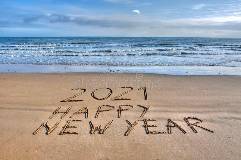 Happy new year on sand stock image. Image of coast ...