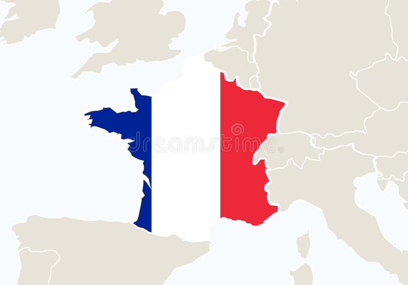 France with highlighted France map. Vector Illustration royalty free illustration