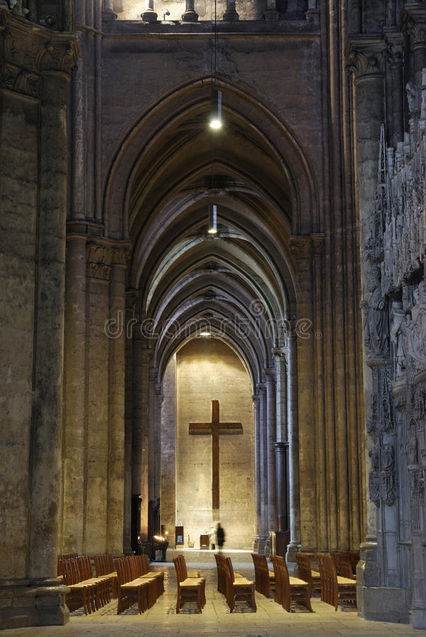 France. Interior of Cathedrale de Chartres.  stock images
