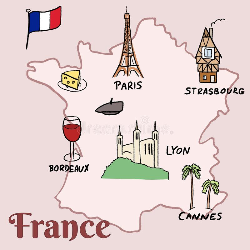 france landmarks vector map paris lyon cannes strasbourg cheese wine and beret