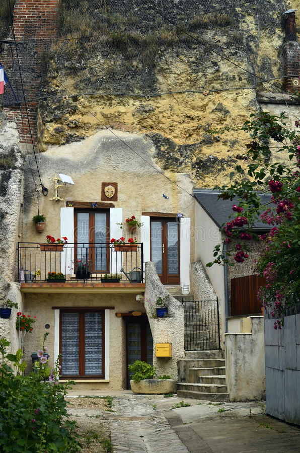 France, Loire Valley. Amboise, home built in rock face royalty free stock image